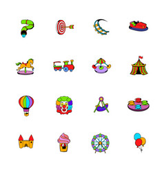 Amusement park set icons set cartoon vector