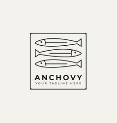 Anchovy fish simple line art logo icon design vector