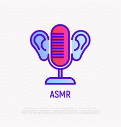 Asmr thin line icon microphone and ears vector