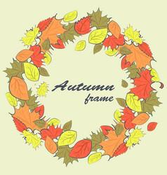 autumn round frame vector image