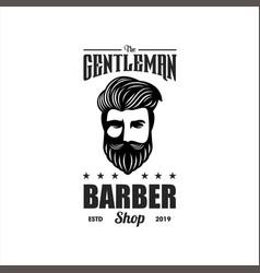 awesome gentlemen barber logo design vector image