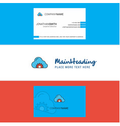 beautiful cloud setting logo and business card vector image