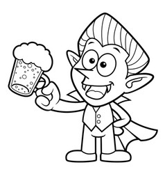 Black and white dracula mascot is drink beer vector