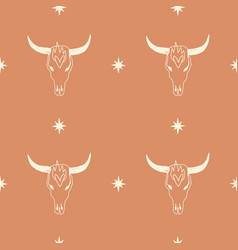 boho seamless pattern with bull skull pattern in vector image