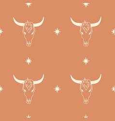 boho seamless pattern with bull skull pattern vector image