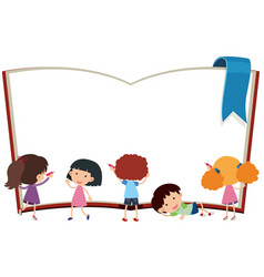 Border template with kids and book vector
