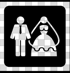 bride and groom rounded square vector image