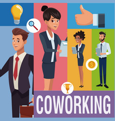 business coworkers cartoons vector image