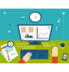 Businessman Workplace with Hands and Infographic vector