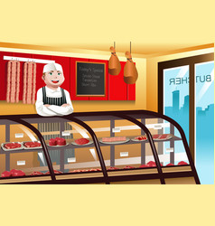Butcher in a meat shop vector
