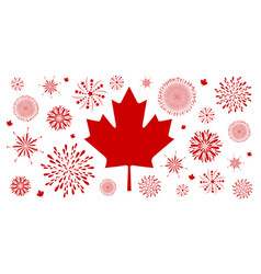 Canada day background design of flag and firework vector
