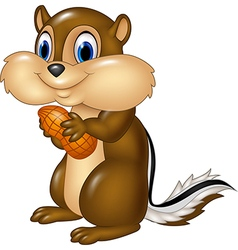 Cartoon chipmunk holding peanut isolated vector image