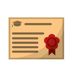certificate diploma school icon vector image