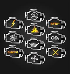 Check engine auto icon set vector