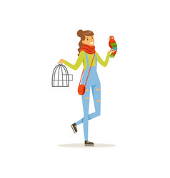 Cheerful girl holding iron cage macaw parrot vector