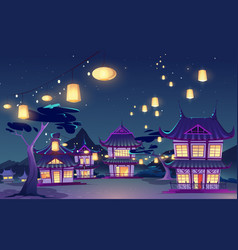 Chinese asian village with houses and sky lanterns vector