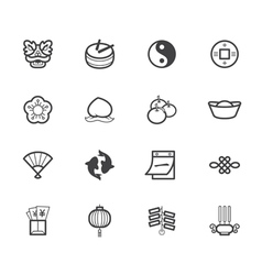 Chinese new year element black icon set on white vector