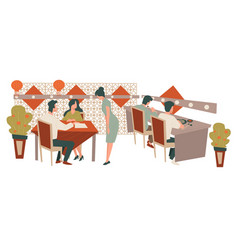 chinese restaurant people eating at diner or cafe vector image
