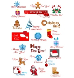 Christmas and New Year symbols set vector image
