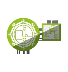circuit electronic sphere hardware shadow vector image