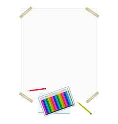 Colored Pencils in A Box on White Paper vector image