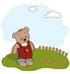 customizable childish card with funny teddy bear vector image