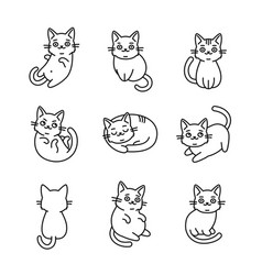 cute cartoon cat icons set on white background vector image