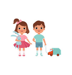 cute litlle boy and girl characters with toys vector image