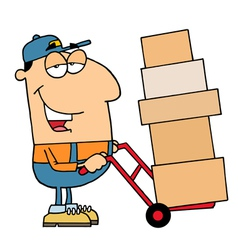 Delivery Guy Moving Boxes vector image