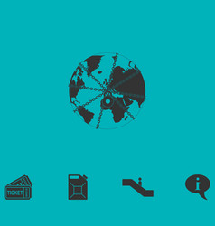 Earth globe in strong chain icon flat vector