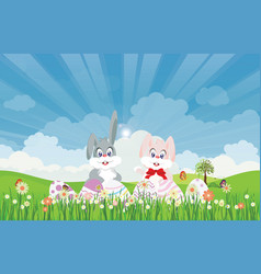 Easter eggs and easter bunny for decoration on vector