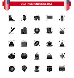 Editable solid glyph pack usa day 25 simple vector