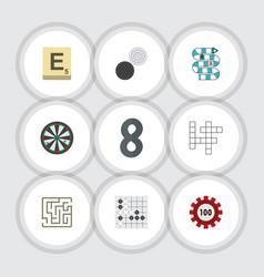 Flat icon entertainment set of mahjong vector
