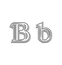 Font tattoo engraving letter B vector image