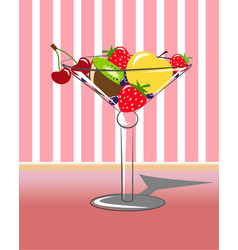 Fruit in martini with striped background vector