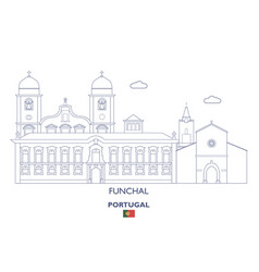 funchal linear city skyline vector image