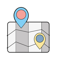 Geography map with points to location vector