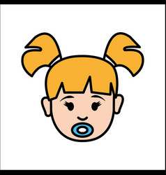 Girl baby face with pacifier avatar icon vector
