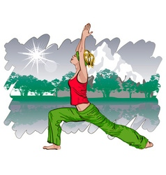 Girl Doing Yoga in a Park vector