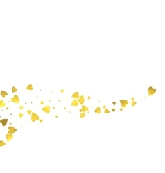Gold glittering foil hearts on white background vector image