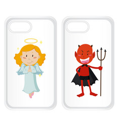 Graphic design on mobile phone case with angel vector