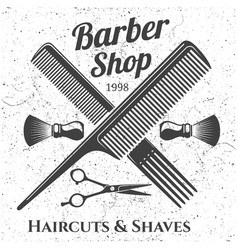 Grey vintage barber shop emblem design vector