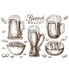 hand drawn beer and snacks collection isolated vector image