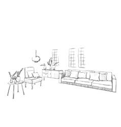 Hand drawn sketch of room interior vector image