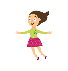 happy cheerful girl character jumping for joy flat vector image