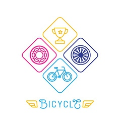 Hipster bicycle logo template vector