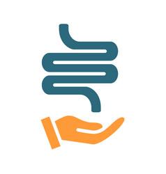 human intestine on hand colored icon care rescue vector image