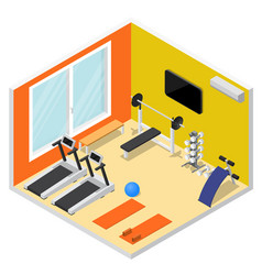 Interior gym with exercise equipment isometric vector