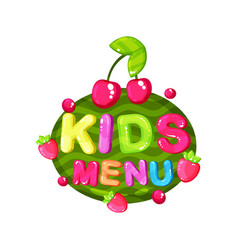 Kids menu logo template design element for cafe vector