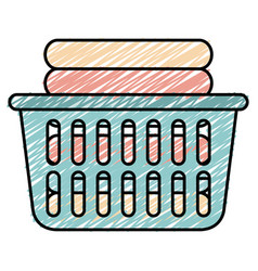 laundry basket with pile of folded clothes vector image